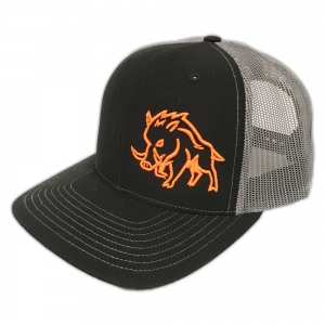 9adb7a09f77 Sniper Pig Brand Orange Stud Pig Grey Mesh Black Snapback Hat – SPH718