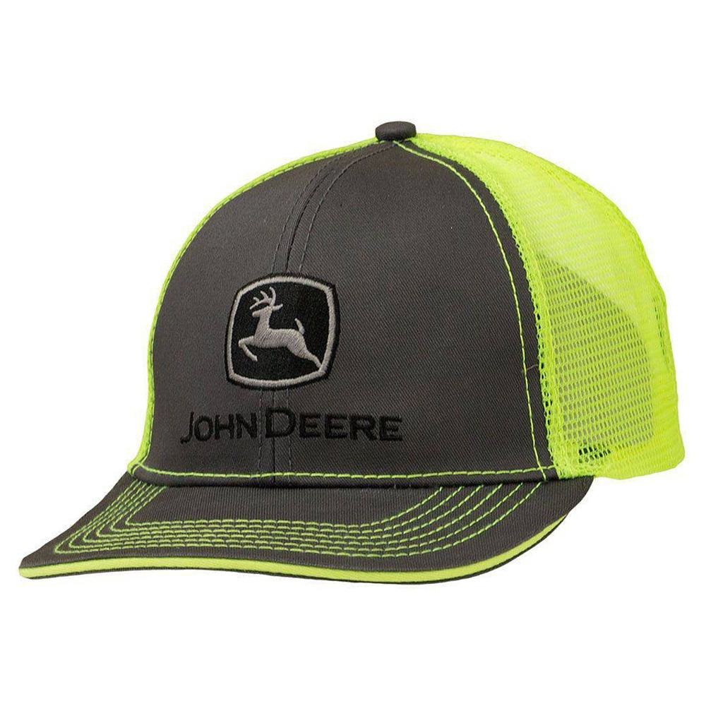 4be59a520 John Deere Grey with Lime Mesh Backing Snapback Hat - 13080411CH00